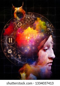 Woman's portrait is surrealist style. Interplay of abstract elements and zodiac symbols. Inner Astrology series.
