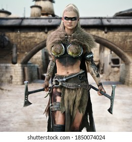 Portrait of a tattooed desert raider female with braided blonde hair and armed with two custom salvaged hammer blades with a frontier outpost background. 3d rendering