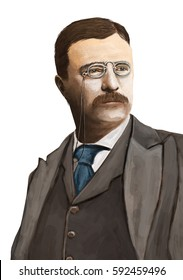 Portrait of Theodore Roosevelt on a pure white background