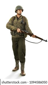 Portrait of a uniformed male world war 2 combat soldier on an isolated white background. 3d rendering
