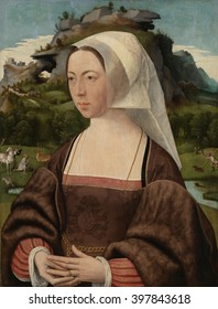 Portrait of an Unknown Woman, by Jan Jansz Mostaert, c. 1525, Netherlandish painting, oil on panel. Woman with white headdress and red gown painting against an imaginary landscape with the conversion