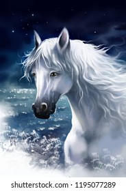 Portrait of a white horse against the night sky. Digital painting.