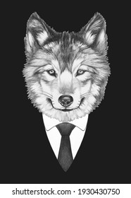 Portrait of Wolf in suit. Bodyguard. Hand-drawn illustration.