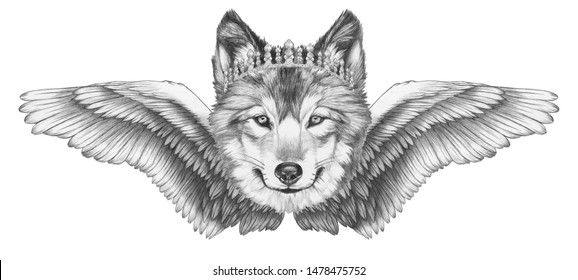 Portrait of Wolf with wings. Hand-drawn illustration.