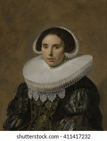 Portrait of a Woman, by Frans Hals, 1635, Dutch painting, oil on canvas. Sitter is the wife of Hals portrait of a man identified as Nicolaes Hasselaer. In this work the pose and the paint application