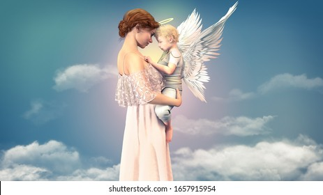 Portrait of a woman with a child angel, concept of friendship of an older woman and a cute small angel, 3d render.