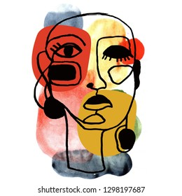 Portrait a woman with earring in modern abstract style. Hand drawn raster illustration for your contemporary fashion design.