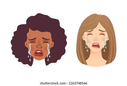 Portrait woman. Emotions of woman face.  illustration set
