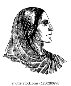 Portrait of a woman in ethnic dress, in profile. Ink / pen. Illustration for printing.