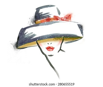 Portrait of woman with red lips in hat. Watercolor fashion illustration.