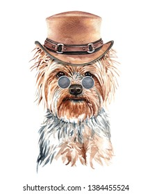 Portrait 	 Yorkshire Terrier Watercolor hand drawn illustration. Watercolor 	 Yorkshire Terrier layer path, clipping path isolated on white background.