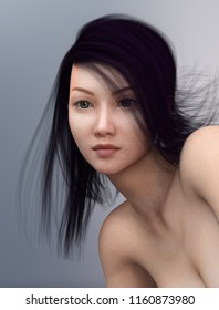 Portrait of a young Asian woman Computer generated 3D illustration