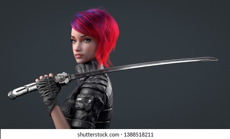 Portrait of a young beautiful cyberpunk girl looking at the camera and holding a futuristic japanese samurai sword on shoulder. Woman with short red hair and blue eyes. 3d render on a gray background.
