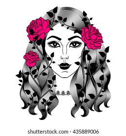 Portrait of young beautiful woman with roses. Female face with flowers. Fashion girl with long wavy hair.
