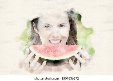 portrait of young brunette woman holding a watermelon in watercolors