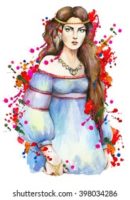 Portrait of a young girl with red flowers on a background with watercolor drips and splashes. Boho style. Hand drawn  by watercolor. Raster illustration