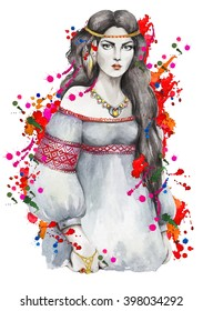 Portrait of a young girl with red flowers on a background with watercolor drips and splashes. Boho style. Ethnic motifs. Hand drawn  by watercolor. Raster illustration