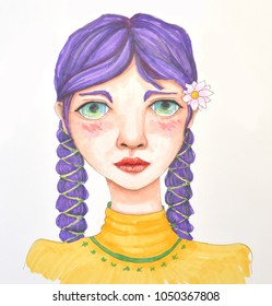 Portrait of young girl with violet hair braided. Drawing.