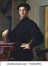 PORTRAIT OF A YOUNG MAN, by Bronzino, 1530s, Italian Renaissance painting, oil on wood. The sitter is thought to be one of Bronzinos literary friends in Florence. There are carved grotesque heads on t