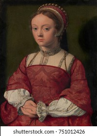 PORTRAIT OF A YOUNG WOMAN, 1535, Netherlandish, Northern Renaissance oil painting. She wears an embroidered high collared shift under a corset bodice dress. Her cap is adorned with gold braid and pear