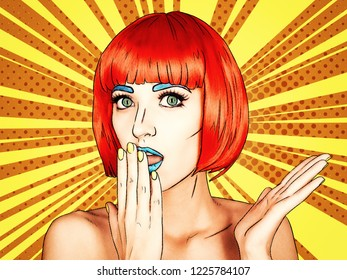Portrait of young woman in comic pop art make-up style. Female in red wig on yellow - orange cartoon background.