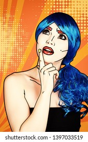 Portrait of young woman in comic pop art make-up style. Female in blue wig on yellow - orange cartoon background
