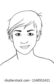 Portrait of a young woman with cut hair