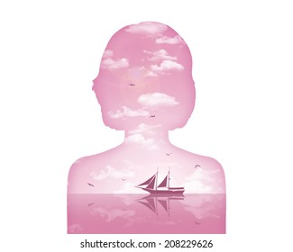 portrait of a young woman showing her inner world as a beautiful water and air landscape of pink color, image of a dreamer's world