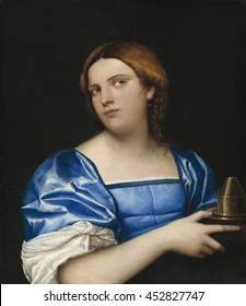 Portrait of a Young Woman as a Wise Virgin, by Sebastiano del Piombo, c. 1510, Italian painting, oil on panel. The story of the wise and foolish virgins from the biblical book of Matthew had signific