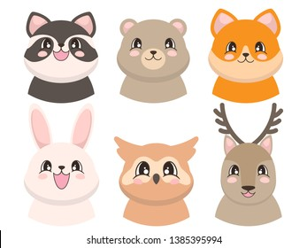 Portraits of cute animals in cartoon style. Rabbit, deer, owl, racoon, bear and fox