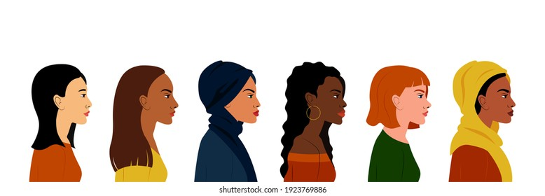 Portraits of women in profile of different nationalities and cultures. The Women's Empowerment Movement. International Women's Day.