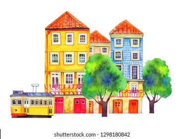Portugal architecture. Lisbon street view with three houses, tram and trees. Watercolor old stone europe houses. Hand drawn cartoon  illustration on white background