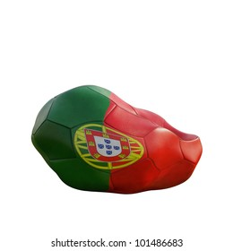 portugal deflated soccer ball isolated on white