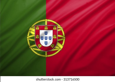 Portugal flag blowing in the wind. Background texture.