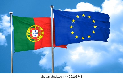 Portugal flag with european union flag, 3D rendering