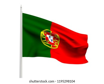 Portugal flag floating in the wind with a White sky background. 3D illustration.
