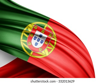 Portugal   flag of silk with copyspace for your text or images and white background