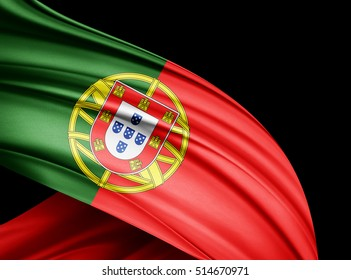 Portugal flag of silk with copyspace for your text or images and black  background -3D illustration