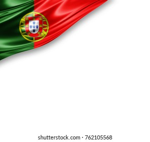 Portugal flag of silk with copyspace for your text or images and white background -3D illustration