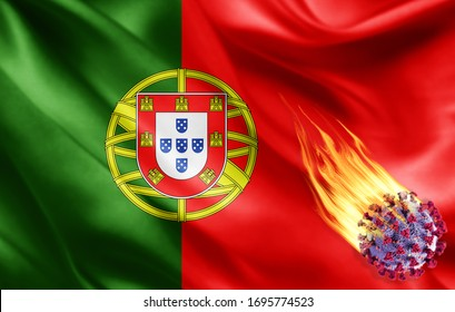 Portugal flag of silk with Covid-19 Coronavirus and fire flames -3D illustration