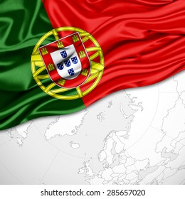 Portugal  flag of silk and world map background