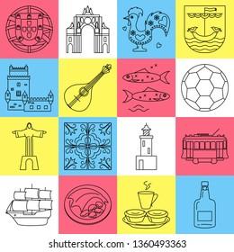 Portugal icons set in thin line style. Traditional symbols including guitar fado, portuguese emblem, cockerel, porto wine.