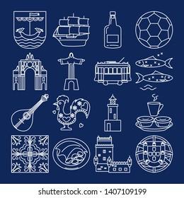 Portugal icons set in thin line style. Traditional symbols including guitar fado, portuguese emblem, Christ statue, cockerel, porto wine.
