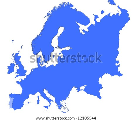 Portugal Location Europe Map Mercator Projection Stock Illustration