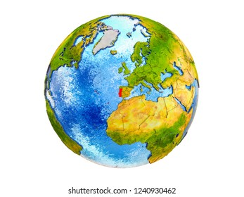 Portugal on 3D model of Earth with country borders and water in oceans. 3D illustration isolated on white background.