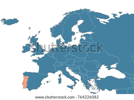 Portugal On Map Europe Stock Illustration Royalty Free Stock