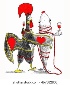 Portugal rooster and sardine drinks wine