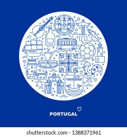Portugal round concept with icons in line style. Traditional symbols set with national culture, cuisine and attractions. Travel banner or poster template with place for text.