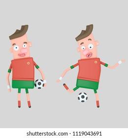 Portugal Soccer player . 3d illustration
