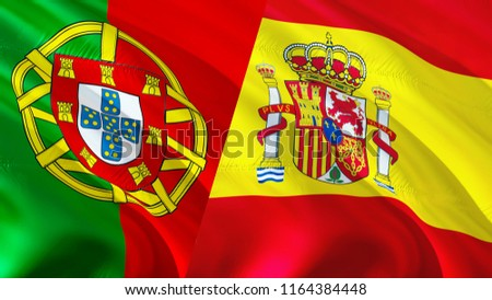 portugal spain flags 3 d waving flag stock illustration 1164384448